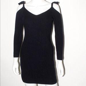 Shoulderless Knit Tie Sweater Dress